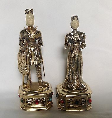 Antique German Gilt Sterling Silver Ivorine Renaissance King & Queen Figurines