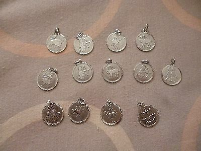 Job Lot of 13 Sterling Silver Charms - Zodiac Signs - Horoscopes