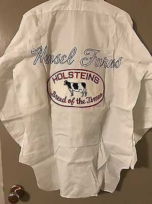 Rare Vintage 50s Mens Manhattan Brand Dress Shirt Hansel Farms Holsteins Patch
