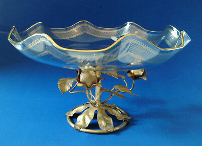 Vintage Tole Fluted Glass Fruit Pedestal Dish with Gold Roses - Toleware - Italy