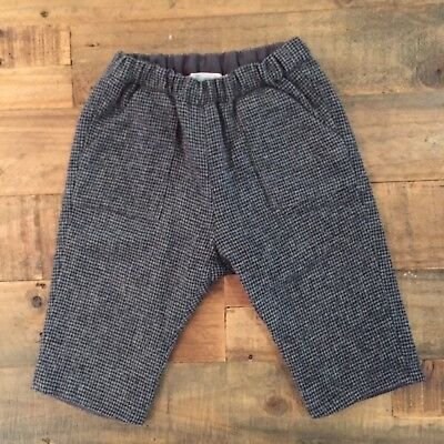 Bonpoint Baby Black & Grey 100% Wool Trousers Size 6M -NEW