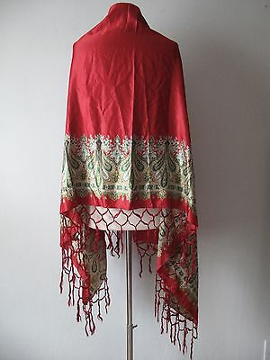 Antique Victorian Paisley Shawl - Wrap - Silk - Fringe