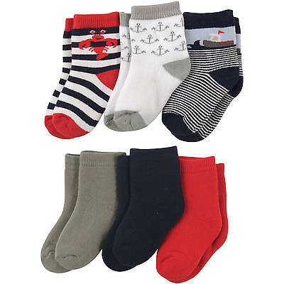 Luvable Friends 6 Pack Computer Cushion Socks Baby Boys 0-6 6-12 12-18 Months
