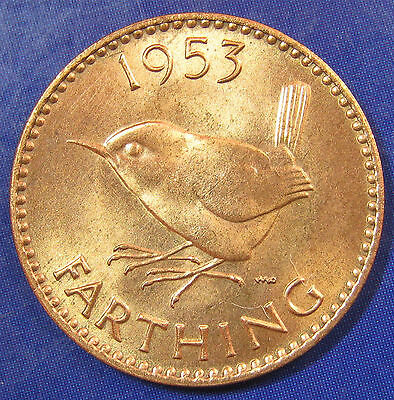 1953 ¼d Elizabeth II Scarce 1+A Farthing - lustrous and Uncirculated
