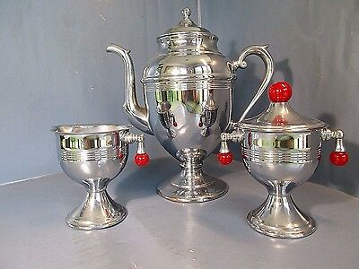Vintage 1930's Art Deco Tea / Coffee Chrome Set w/ Red Bakelite N. Mint Unused