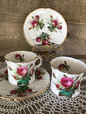 Hammersley Tea Cup and Saucers Set of Two Grandmothers Rose with Embossed Vintag