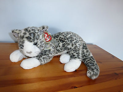 TY Beanie Buddy Purr the White and Grey Cat