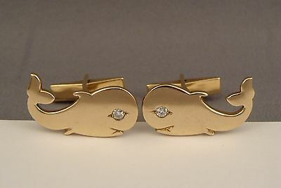 Vintage 14K Yellow Solid Gold Diamond Whale Design Heavy Cufflinks Rare
