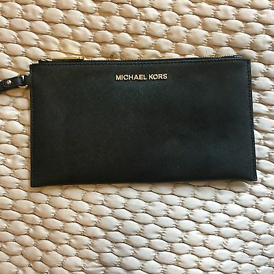 Michael Kors Clutch Bag Black Leather with Wristlet