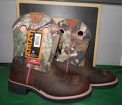 Ariat Women's Fatbaby Cowgirl Distressed Brown Camo Boots Size 8B