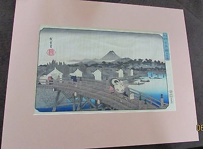 Ando Hiroshige Japanese Woodblock Print-Hand Colored Very Nice Piece