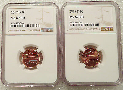 2017 P + D NGC MS 67 RD Lincoln Shield cents - Matched Set of 2 NGC MS 67 coins
