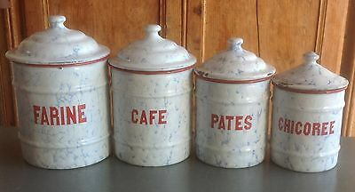 4 vintage French 1950's WHITE  ENAMEL kitchen storage jars, canisters