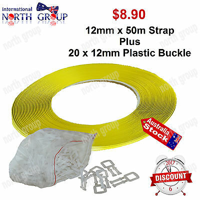 12mm x 50m PACKING STRAP PLUS 20 PLASTIC DUCT BUCKLES MOVING OFFICE WAREHOUSE