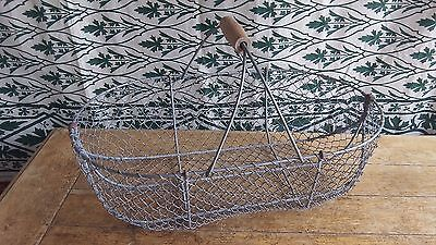 French Vintage  Large Oyster Mussels Metal Wire Basket with Fixed handle