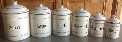 serie of 6 vintage French 1950's WHITE  ENAMEL kitchen storage jars, canisters