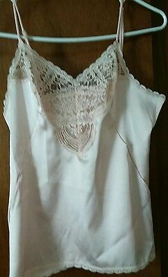 Vanity Fair Sz 34 Camisole-satiny pink deep lace insert -fitted through bustline