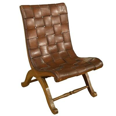 French Woven Leather Chair