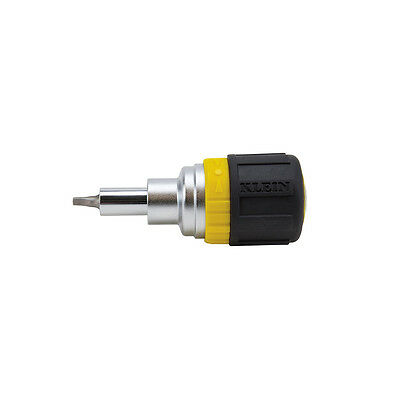 Klein 32594 6-in-1 Ratcheting Stubby Screwdriver / Nut Driver - Square Recess
