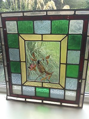 Antique Leaded stained glass panel with hand painted bird scene