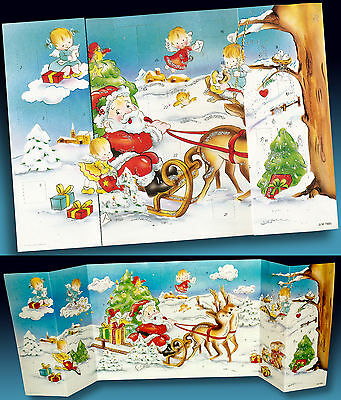 ALTER ADVENTSKALENDER NIKOLAUS RENTIERSCHLITTEN ENGELCHEN JLM WEST GERMANY 70er