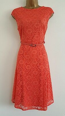 NEW Ex W*llis 8-18 Coral Floral Lace Belted Fit&Flare Skater Dress WeddingParty