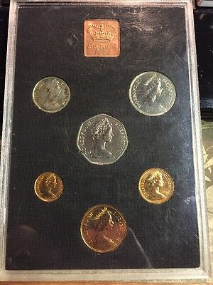 UK British 1971 Royal Mint  Proof 6 Coin Collection Set 1/2 - 50 Pence Envelope