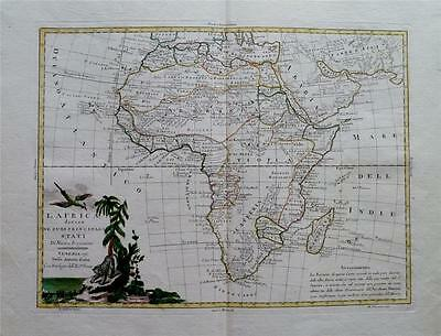 FINE ANTIQUE 1776 ANTONIO ZATTA MAP OF AFRICA - Divided into Colonial Regions