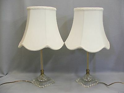 """Vintage Pair 18"""" Tall Glass Brass Boudoir Dresser Vanity Table Lamps and Shades"""