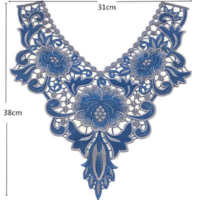 "2-Tone Denim Blue Embroidered Neckline Applique 12 x 15"" Top Quality * Satiny"