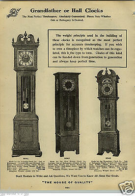 1912 PAPER AD Ansonia New Haven Waterbury Grandfather Hall Black Forest Clocks