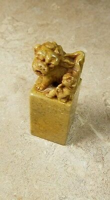 Chinese Foo Dog Hardstone Seal Yellow Rare Beautiful Old Antique Stamp