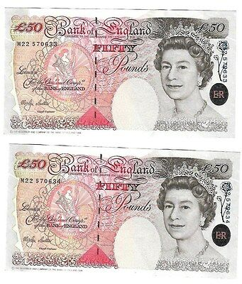 Set of  5 Bank Of England £50,  Fifty Pound Notes  Merlyn Lowther, Uncirculated.