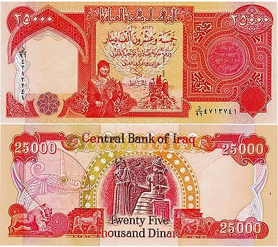 150,000 (6 x 25,000) CRISP Iraqi Dinar UNCIRCULATED SERIAL NUMBERED Currency