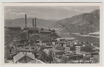 BC - TRAIL, View of City, Residences, Smelter and Columbia River c.1940s RPPC