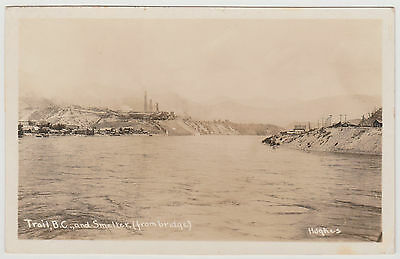 BC - TRAIL, View of Columbia River, Smelter from the Bridge c.1924-1949 RPPC