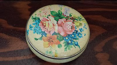 """Collectible Decorative 5"""" Tin with Flowered Lid"""
