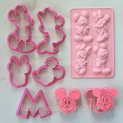 Minnie Mouse & Mickey Mouse Cookie Cutters And Silicone Mold 10 pcs. LOT