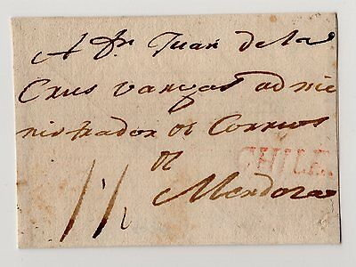 CHILE prephilatelic postmark CHILE on front circa 1800 back reinforced II
