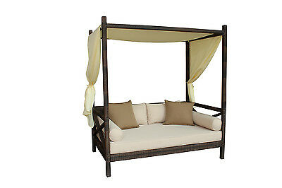 Outdoor Patio Wicker Rattan Bali Sunbed Day Bed Furniture Lounger Sofa w/ Canopy