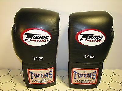 New Twins Special BGVL3 Black Muay Thai Boxing Gloves Martial Arts Sporting 14OZ