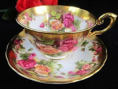 """Vintage Royal Chelsea England """"GOLDEN ROSE"""" HEAVY GOLD Cup and Saucer"""