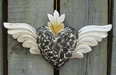 Hand Carved White Wood Heart & Wings Milagros Folk Art Michoacán Mexico LOVE