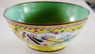 "Beautiful canton enamel yellow ground large 7"" bowl,very good vintage condition"