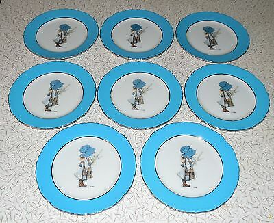 Holly Hobbie Blue Girl 1973 World Wide Arts 8 Side Plates~Bread & Butter Plates
