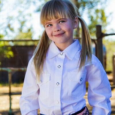 New Girls 100% Cotton Single Colour Shirts - 4154-G-White Girls ShirtBrigalow