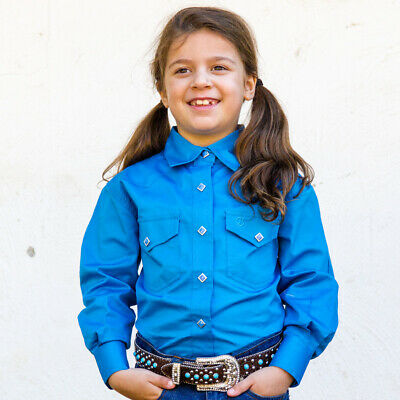 New Girls 100% Cotton Single Colour Shirts - 4154-H-Cobalt Girls ShirtBrigalow