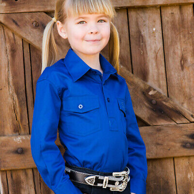 New Girls Cotton Half Placket Work Shirt - 8052-N-Royal Girls ShirtBrigalow
