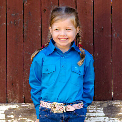 New Girls Cotton Half Placket Work Shirt - 8052-H-Cobalt Girls ShirtBrigalow