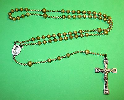 Antique Ww1 Military Pull Chain Type Rosary With Brass Metal Beads Mary & Jesus